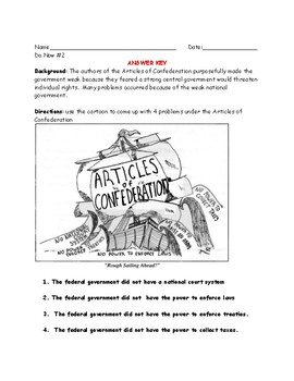 Articles of Confederation to Constitution Do Now Worksheet Packet (6 Days)