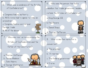 Articles of the Confederation & The Constitution Task Cards {Scoot}