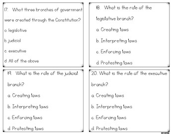 Articles of the Confederation & The Constitution Task Cards Government Review