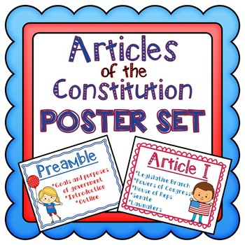 Articles of the Constitution POSTER SET #2: Civics