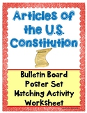 Articles of the U.S. Constitution Activity,Poster,Workshee