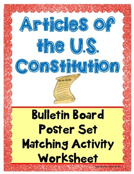 Articles of the U.S. Constitution Activity,Poster,Worksheet- Plan of Government