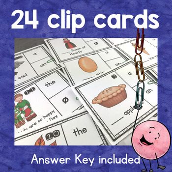 Grammar Article Adjectives / Determiners : worksheets and clip cards