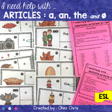 Article Adjectives / Determiners Worksheets and Clip Cards