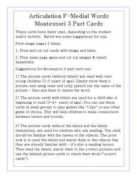 Articulation 3 Part Cards F-Medial Words
