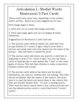 Articulation 3 Part Cards L-Medial Words