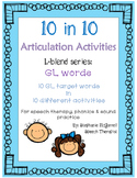 Articulation Activities:GL blend words for speech therapy,
