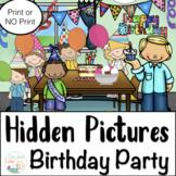 Articulation Activities: Hidden Pictures Birthday Party