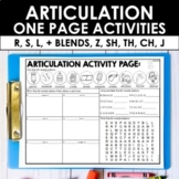 Speech Therapy Articulation Activities - Later Sounds