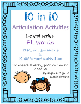 Articulation Activities:PL blend words for speech therapy,phonics,sound practice