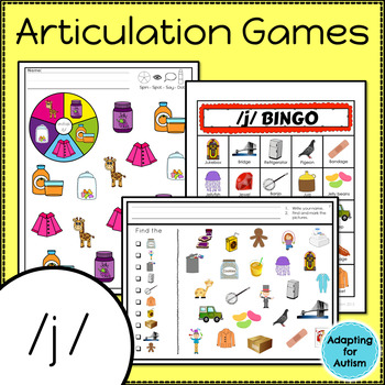 Articulation Activities and Games for Speech Therapy /j/