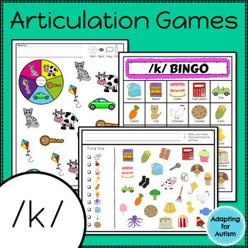 Articulation Activities and Games for Speech Therapy /k/