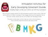 Articulation Activities for Early Developing Consonant Sounds: P, B, M, K, G
