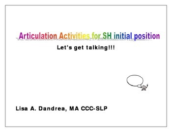 Articulation Activities for Sh initial position