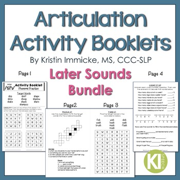 No Prep Articulation Activity Booklets Later Sounds BUNDLE