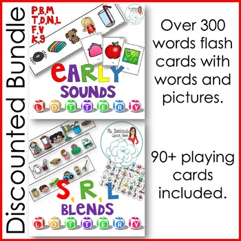 Articulation Activity: Early Sounds and Blends Lottery Game Bundle