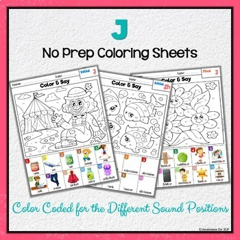 Articulation Activity:J Coloring Book