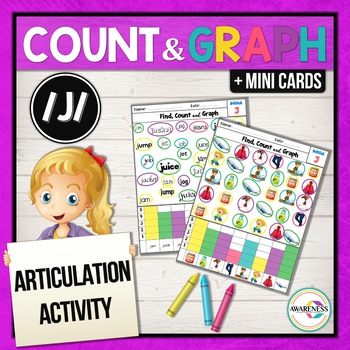 Articulation Activity; /J/ sound Worksheets Find, Count and Graph