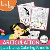 L Articulation Activity: L and L-blends Coloring Worksheets for Speech Therapy