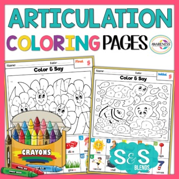 Articulation Activity: S and S-blends Coloring Sheets by Awareness ...