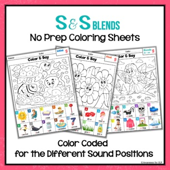 Articulation Activity: S and S-blends Coloring Sheets