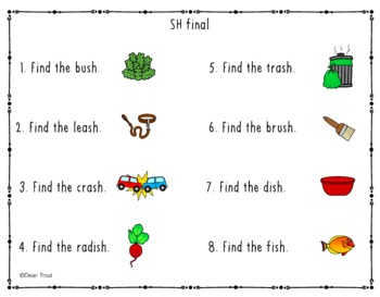 Articulation Activities Search and Find CH, SH, and TH