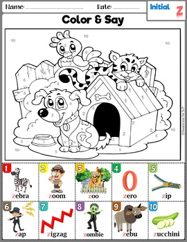 Articulation Activity: Z and voiceless Th Coloring sheets