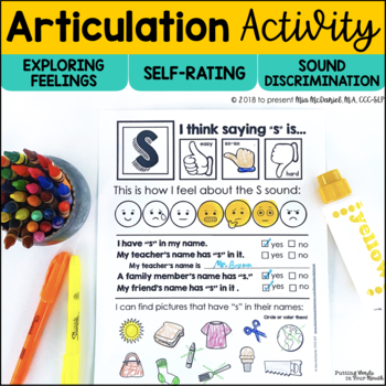 DISTANCE LEARNING Articulation Activity | Self-Rating, Feelings & Sound Discrim