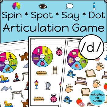 Articulation Activity: /d/ Spinner Speech Therapy Game