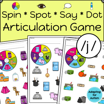 Articulation Activity: /j/ Spinner Speech Therapy Game