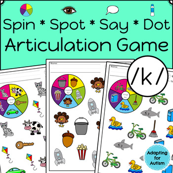 Articulation Activity: /k/ Spinner Speech Therapy Game