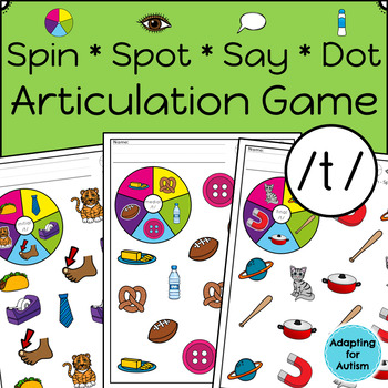 Articulation Activity: /t/ Spinner Speech Therapy Game