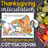 Articulation Activity for Thanksgiving   Cornucopias