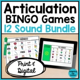 Articulation BINGO Games: BUNDLE of 12 Speech Therapy Games (Print and Digital)