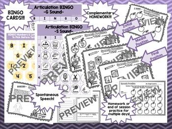 Articulation BINGO & Homework