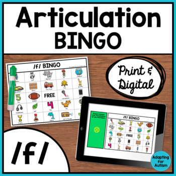 Articulation Game: /f/ BINGO for Speech Therapy