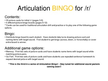Articulation BINGO for Initial /r/