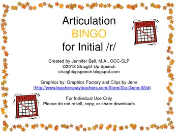 Articulation BINGO for Initial /r/