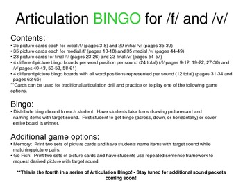 Articulation BINGO for /f/ and /v/
