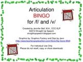 Articulation BINGO for /f/ and /v/