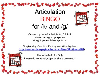 Articulation BINGO for /k/ and /g/