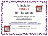 Articulation BINGO for -ks words