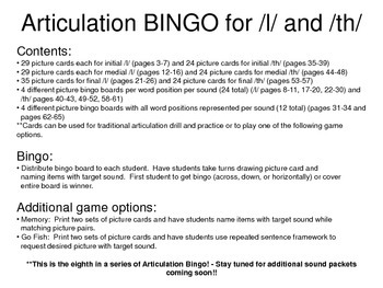 Articulation BINGO for /l/ and /th/