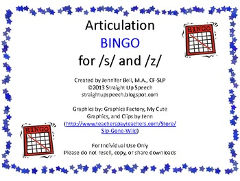 Articulation BINGO for /s/ and /z/