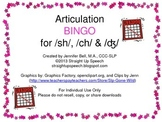 Articulation BINGO for /sh/, /ch/ & /ʤ/