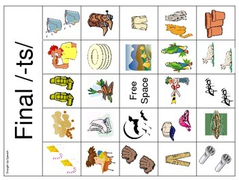 Articulation BINGO for -ts words