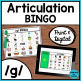 Articulation Game: /g/ BINGO for Speech Therapy (Print and Digital)