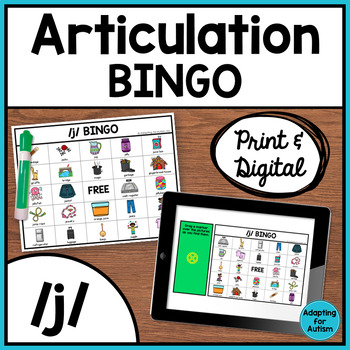 Articulation Game: /j/ BINGO for Speech Therapy
