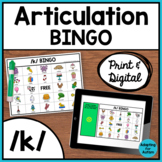Articulation Game: /k/ BINGO for Speech Therapy (Print and Digital)