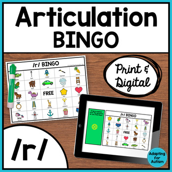 Articulation Game: /r/ BINGO for Speech Therapy